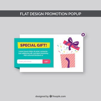 Moderne promotionele pop-up met plat ontwerp
