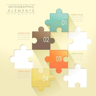 Moderne puzzel infographic elementen geïsoleerd op geel