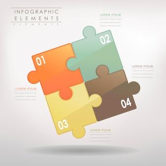 Moderne puzzel infographic elementen geïsoleerd op wit