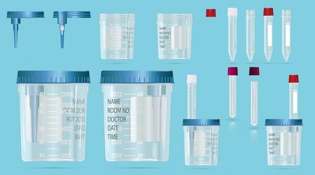 Moderne realistische 3d flesjes en vacuümcontainers