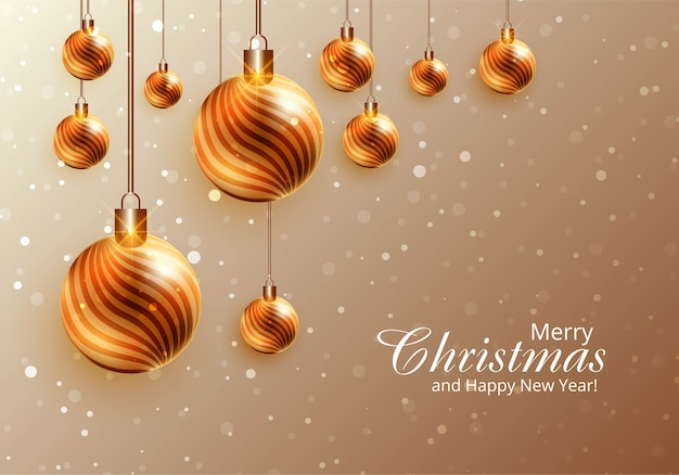 Moderne realistische glanzende kerstballen op kaart achtergrond