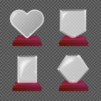 Moderne realistische glazen trofee-awards. illustratie geïsoleerd voor transparantie