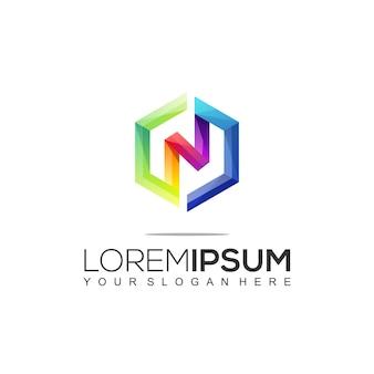 Moderne rechthoekige letter n kleurrijke logo sjabloon