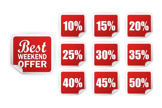 Moderne reclame met rode kortingssticker voor promotie. leeg etiket. zakelijk. beste prijsaanbieding.