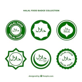 Moderne reeks halal voedseletiketten met vlak ontwerp