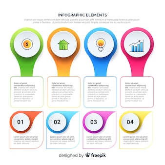 Moderne reeks infographicselementen met vlak ontwerp