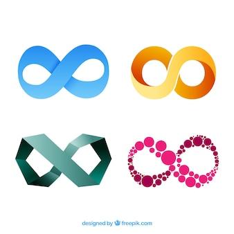 Moderne reeks kleurrijke oneindigheidssymbolen