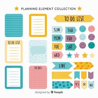 Moderne reeks kleurrijke planningselementen
