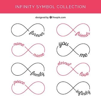 Moderne reeks oneindigheidssymbolen met woorden
