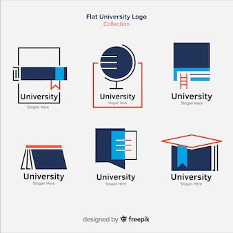 Moderne reeks universitaire emblemen met vlak ontwerp