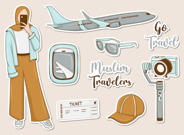 Moderne reisstickers set met moslimmeisje en enkele elementen