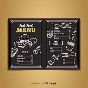 Moderne restaurant menusjabloon met schoolbordstijl