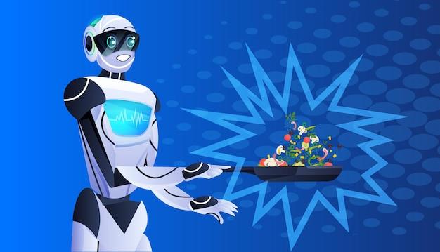 Moderne robot bereidt gezonde groenten salade kunstmatige intelligentie technologie concept