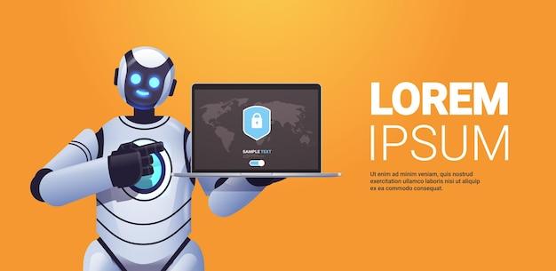Moderne robot cyborg met laptop met beschermingsschild cyberbeveiliging gegevensbescherming kunstmatige intelligentietechnologie