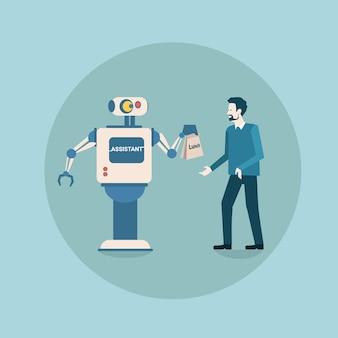 Moderne robot die zakenmanpakket met de technologie van het voedsel futuristische kunstmatige intelligentie mechanisme geeft
