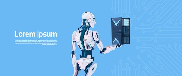 Moderne robot hold cloud database server, futuristische kunstmatige intelligentie mechanisme technologie