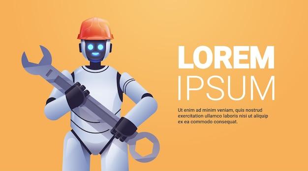 Moderne robot in helm met moersleutelreparatieservice kunstmatige intelligentie
