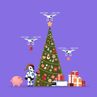 Moderne robot in kerstman hoed in de buurt van versierde dennenboom geschenkdoos drone bezorgservice vrolijk kerstfeest gelukkig nieuwjaar concept kunstmatige intelligentie plat