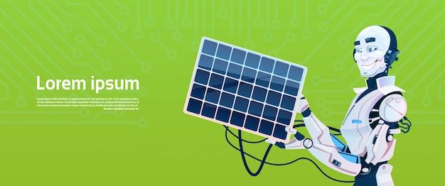 Moderne robot opladen van zonnepaneel batterij, futuristische kunstmatige intelligentie mechanisme technologie
