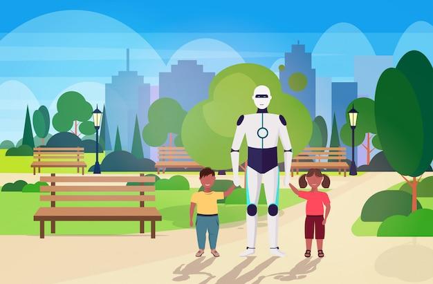 Moderne robot oppas wandelen met kinderen