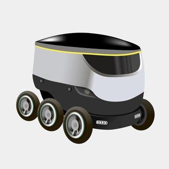 Moderne robots leveringsmethoden. robot zelfrijdende snelle leveringsgoederen in de stad. technologisch verzendingsinnovatieconcept. moderne vectorillustratie. geïsoleerd.