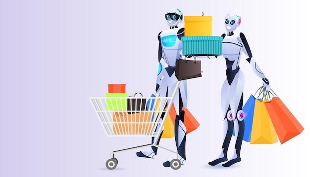 Moderne robots met kleurrijke aankopen boodschappentassen kunstmatige intelligentie technologie concept