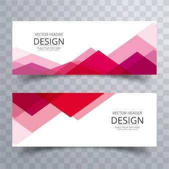 Moderne rode banners met driehoekige vormen