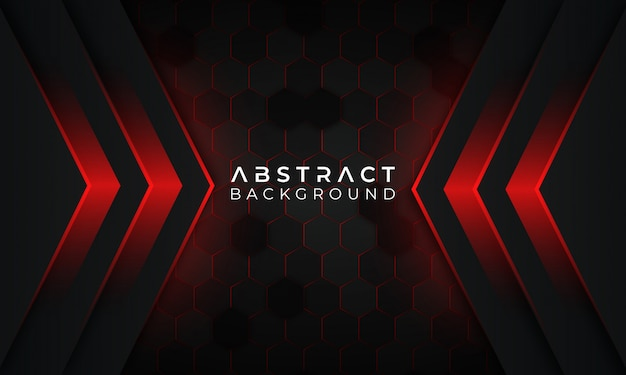 Moderne rode donkere achtergrond met rode gloeiende lijn en geometrisch patroon