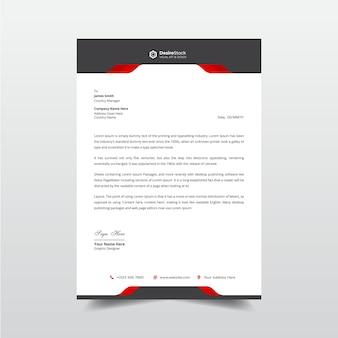 Moderne rode en zwarte elementen voor briefpapier professioneel zakelijk briefhoofdsjabloon