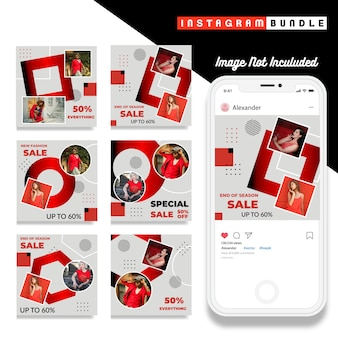 Moderne rode instagram bericht mode sjabloon