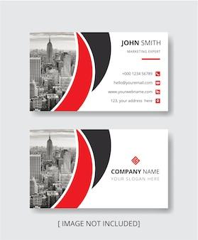 Moderne rode kleur visitekaartje ontwerpsjabloon