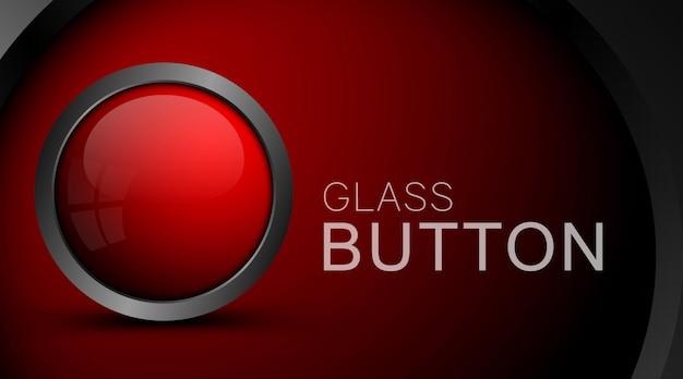 Moderne rode knop geïsoleerd op rood