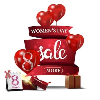 Moderne rode kortingsbanner aan de dag van de vrouw
