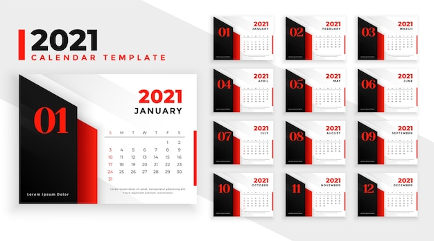 Moderne rode nieuwjaar kalendersjabloon