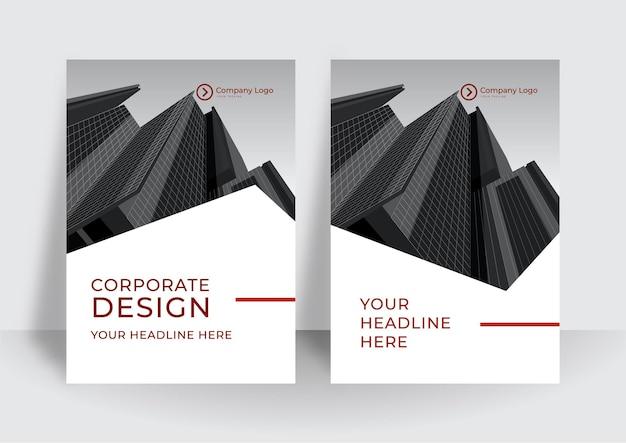 Moderne rode omslagontwerpsjabloon. ontwerpsjabloon voor bedrijfsjaarverslag of boek