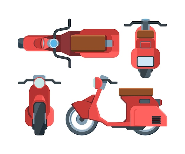 Moderne rode scooter fiets vlakke afbeelding