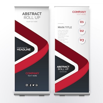 Moderne roll-up sjabloon met abstracte rode vormen