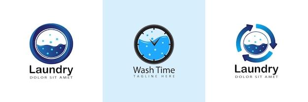 Moderne ronde pijl wasserij logo sjabloonontwerp in geïsoleerde achtergrond