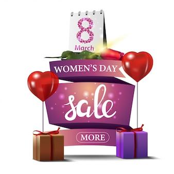 Moderne roze kortingsbanner aan de dag van de vrouw