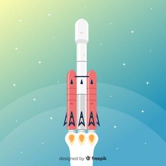 Moderne ruimteraket met plat ontwerp