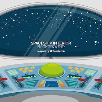 Moderne ruimteschip binnenlandse achtergrond met vlak ontwerp