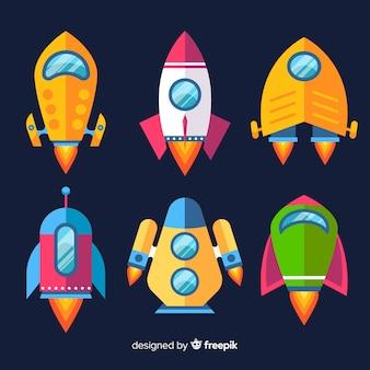 Moderne ruimteschipcollectie met plat ontwerp