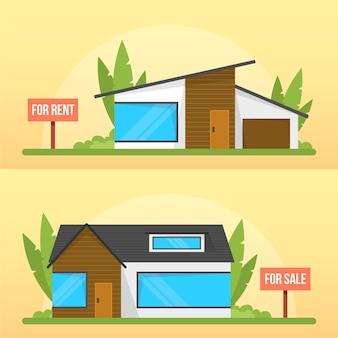 Moderne rustieke huizen verkoop en huur concept