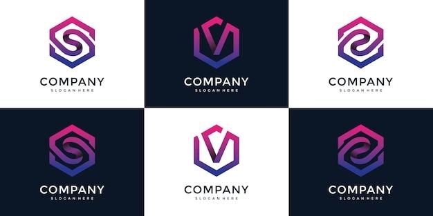 Moderne s, v, z met zeshoekige logo-ontwerpsjabloon