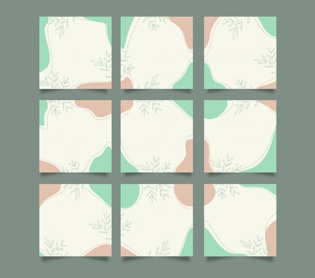 Moderne schattige sociale media instagram post achtergrond sjabloon in raster puzzelstijl