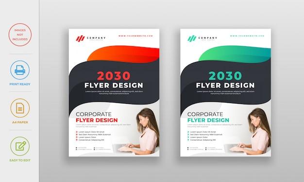 Moderne schone golvende kleurverloop flyer poster ontwerpsjabloon