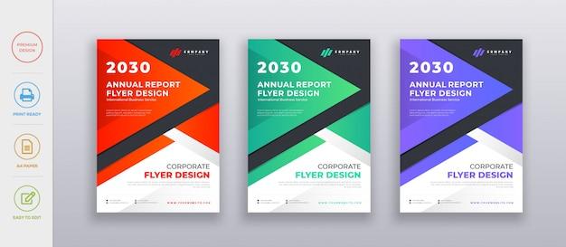 Moderne schone zakelijke, bedrijf jaarverslag flyer poster ontwerpsjabloon