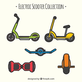 Moderne scooters met kleurrijke stijl