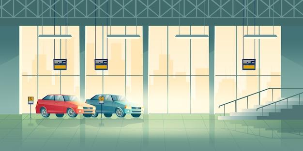 Moderne sedan nieuwe modellen staan, wachtend op kopers in tentoonstellingszaal, dealercentrum of salonbeeldverhaal