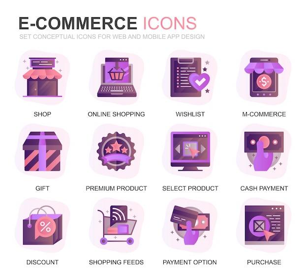 Moderne set e-commerce en winkelen gradiënt plat pictogrammen